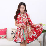 Lady Fashion Acrylic Woven Fringed Jacquard Winter Shawl (YKY4448)