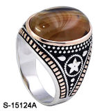 New Designs 925 Sterling Silver Arab Men Ring with Natural Agate.