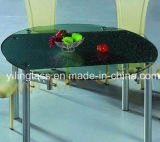 Clear Tempered Pattern Color Printed Glass Bar Table