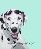 Modern Oil Paintings Funny Dog Canvas Wall Art for Home Decor