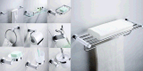 Simple Classical White Bathroom Accessories Set Towel Cup Holder