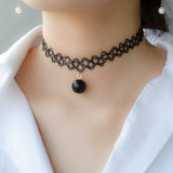 Elegant Women Handmade Choker Tattoo Necklace with Black/White Pearl Pendant