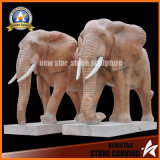 Stone Sculpture Animal Marble Elephant Sculpture for Decoration