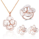 Wholesale Flower Design Enamel Gold Plated Without Stone Jewelry Set