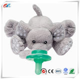 Soft Grey Elephant Animal Plush Pacifier Toy for Babies