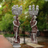 a Pair of Beautiful Lady Hold on Lamp for Garden Decoration Marble Statue Sculpture