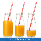 300ml Clear Glass Drinking Bottle with PP Straw