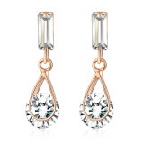 Rose Gold Plating 18K Gp CZ Dangle Drop Earring Jewelry