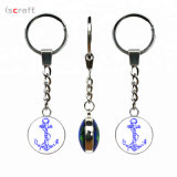 Customized Double Sided Key Chain Glass Anchor Pattern Key Chain