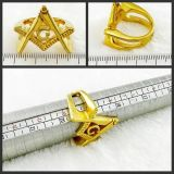 18k Plated Gold Masonic Finger Ring