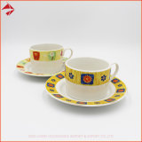 Custom Logo Strengthen Porcelain Coffee Tea Ceramic Cup Set with Saucer for Cake and Desert