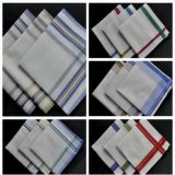 Mens Stripe Plain 100% Cotton White Handkerchief