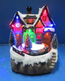 Resin Crafts Christmas Decoration 8′′ LED Light Train Station with Moving Train