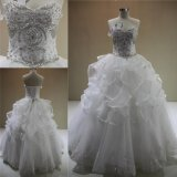 Heavy Beading Crystal Ruffled Ball Gown Bridal Wedding Dresses 2018
