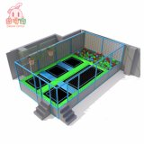 Kids Indoor Exercise Trampoline with Dodge Ball Area and Basketball Hoop