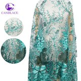 Newest Design Beaded Tulle Guipure African Embroidery Lace Fabric