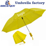 2 Folding Price Cheap Automatic Yellow Polyester Budget Umbrella for Gift/Promotion/Presents