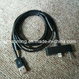 USB 8pin 3.5mm Aux Connector Car Data Audio Cable for iPhone 5 120cm