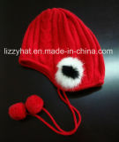 Fashion Knitted Angora Children Hat with Tassels and Pompoms
