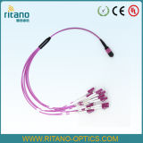 MTP/MPO-LC Singlemode Pink Fiber Opitc Fanout/Breakout Cables of Higher Port Density