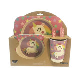 Eco-Friendly Food Contact Safe Bamboo Fiber Kids Decal Dinnerware Sets (SHIKECORE)