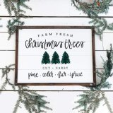 Christmas Trees Shiplap Wood Sign Picture Frame Home Decor Farmhouse Rustic Vintage Wall Art Christmas Sign with Sayings