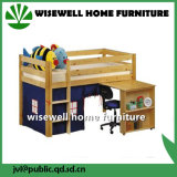 Solid Pine Wood Bed with Study Table