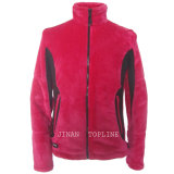 Women Long Sleeve Stitching Color Flannel Fabric Jacket