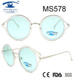 2017 Wholesale Round Shape Women Metal Sunglasses (MS578)