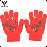 Custom Design Rubber Print Pattern and Knitted Magic Glove for Wholesale