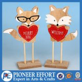Wooden Fox with Heart Design for Top Table Decor
