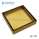 Brushed Brass Color Square Stainless Steel Tile Insert Floor Drain