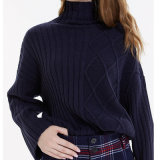 Fashion Women Clothing Winter Pullover Asymmetrical Knit Turndown Sweaters
