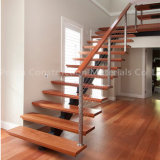 High Quality Prima Precast Indoor Glass Stairs Wood Floating Staircase