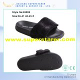 EVA Female Outdoor Open Toe Woman Slipper with Fur Upper