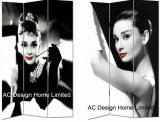Cole Hairpin Design Living Room Canvas and Wooden Printing Decorative Folding Screen Room Divider X 3 Panel