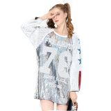 2018 Hot Selling New Fashion Wholesale Glitter Sequins Sparkly Long Sleeve Casual Loose T-Shirt Dress