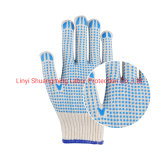 Linyi Blue PVC Dotted Cotton Knitted Safety Gloves
