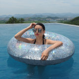 Summer Outdoor Water Play Equipment Inflatable Golden and Silver with Glitter Swim Ring