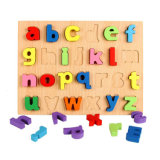 Kid Early Educational Toys Econ-Friendly EU Standard Good Quality Solid Colorful 3D Baby Learning Wood Alphabet Puzzle