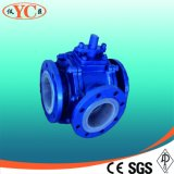 PTFE Lined Three Way L Type Ball Valve (Q44F46)