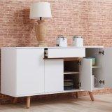 Satin White Wooden Sideboard Side Cabinet for Kitchen Room