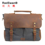 Redswan Real Leather Briefcase Bag Washed Canvas Fabric Messenger Man Laptop Handbag (RS-6807)