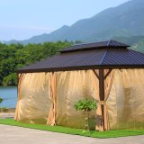Outdoor High Quality Double Polycarbonate Roof Garden Morden 3*4m Luxury Aluminium Hardtop Gazebo