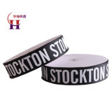 China Factory Wholesale Black Grosgrain Ribbon with White Printed