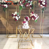 Wedding Decoration Gold Metal Crystal Glass Top Wedding Cake Table