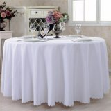 Hotel Restaurant Table Linens Plain White Polyester 108 Inch Round Wedding Table Cloth
