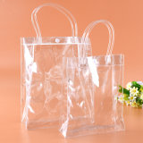 customized fashion clear promotion PVC hanadle plastic handbag