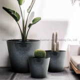 Home Decoration Simple Round Plastic Flower Pot Plant Pot Garden Planter with Ceramic Effect for Both Indoor and Outdoor