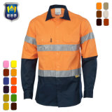 Two Tone Long Sleeve Refelctive Stripe Safety Work Shirt